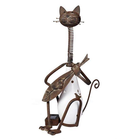 LED Solarleuchte Katze aus Metall und Kunstharz mit weißer LED