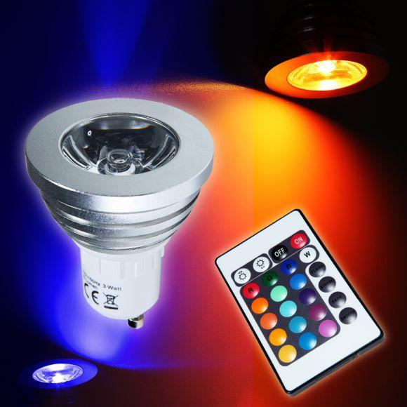 RGB GU10 Leuchtmittel mit Farbwechsler, inklusive Fernbedienung