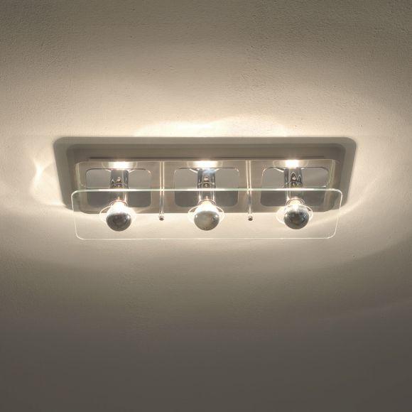 deckenleuchte mit kopfverspiegelten leuchtmitteln 3 flammig indirektes licht wohnlicht. Black Bedroom Furniture Sets. Home Design Ideas