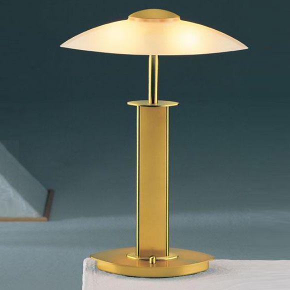 Hochwertige Tischleuchte - Mit Tastdimmer - Nickel matt oder Messing matt - 49,5 cm Höhe