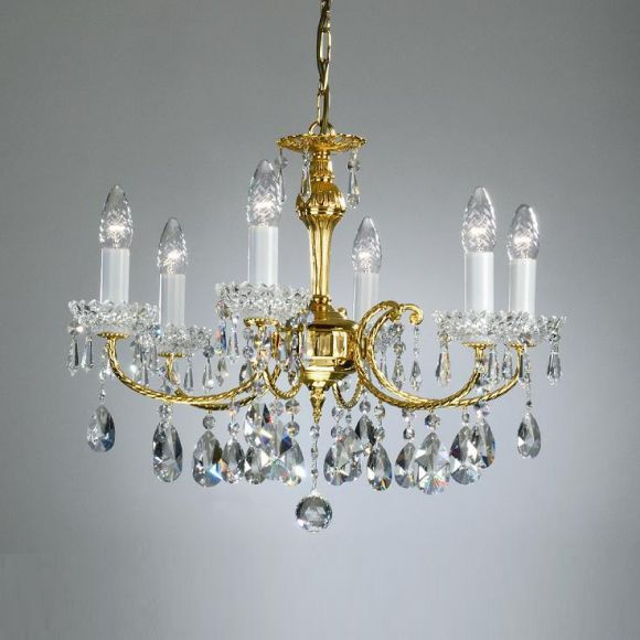 kronleuchter mit bleikristallbehang und 24 karat vergoldet. Black Bedroom Furniture Sets. Home Design Ideas