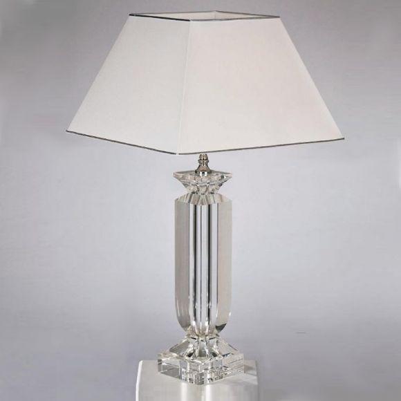 Tischleuchte mit optischem Kristallglas, geschliffen, vergoldet oder verchromt in 2 Ausführungen wählbar