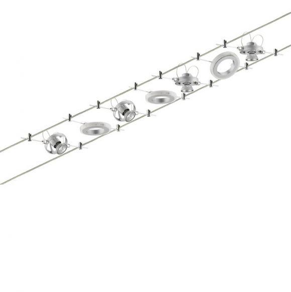 led seilsystem komplettset inklusive leuchtmittel und trafo wohnlicht. Black Bedroom Furniture Sets. Home Design Ideas