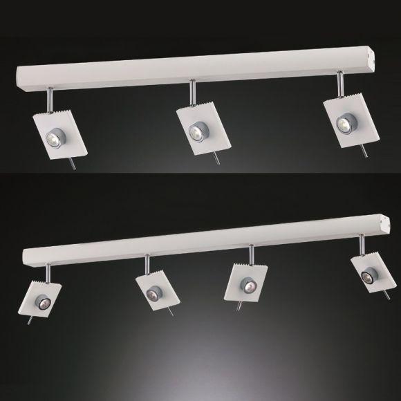 Strahlerbalken  in Weiß , 3 oder 4 schwenkbare LED Spots wählbar , 6W LED-Leuchtmittel  inklusive