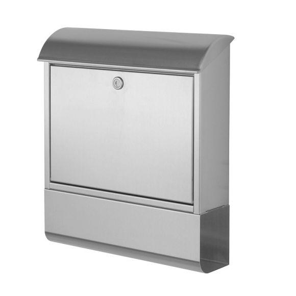 klassischer briefkasten mit integrierter zeitungsrolle aus edelstahl namenschild inklusive. Black Bedroom Furniture Sets. Home Design Ideas