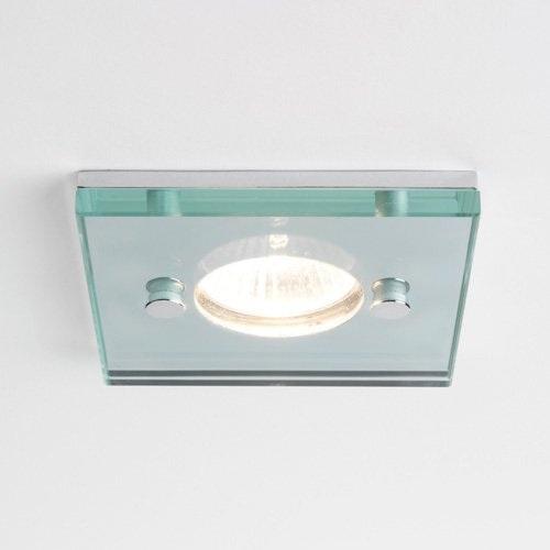 Deckeneinbauleuchte eckig - Klarglas - Chrom - Ø10cm - inklusive Halogenleuchtmittel