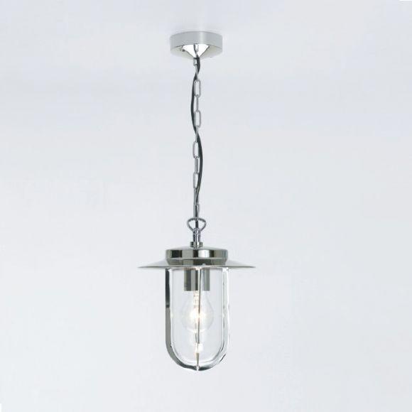 Moderne Aussen Pendelleuchte - Nickel poliert - Klarglas