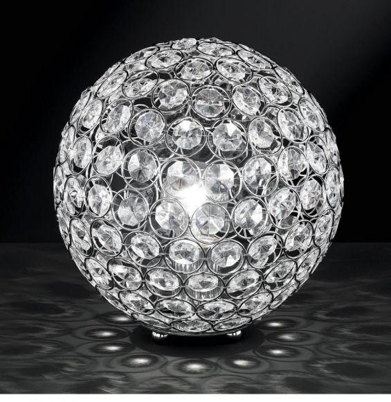 Tischleuchte in Chrom mit Glaskristallen - Durchmesser 25 cm