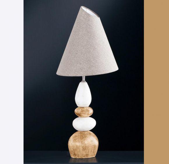 Hockerleuchte Stone mit Keramik natur/braun, Schirm grau meliert verstellbar