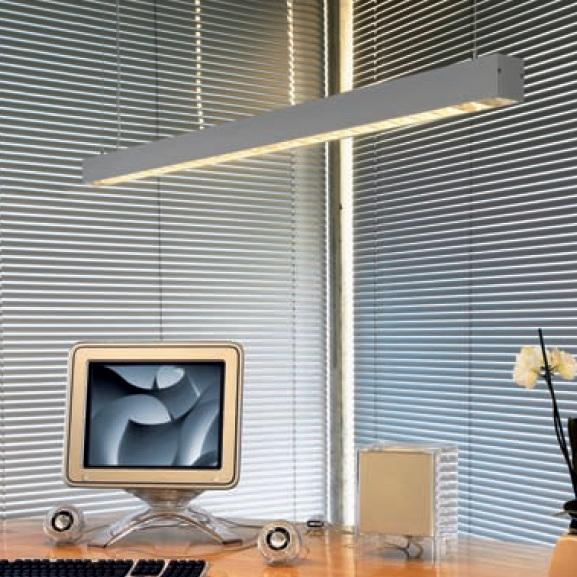 Büropendelleuchte - Mit Raster für blendfreies Licht - Aluminium - 1-flammig
