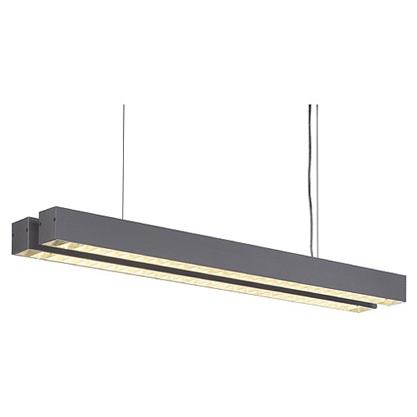 Büropendelleuchte - Mit Raster für blendfreies Licht - Aluminium - 2-flammig