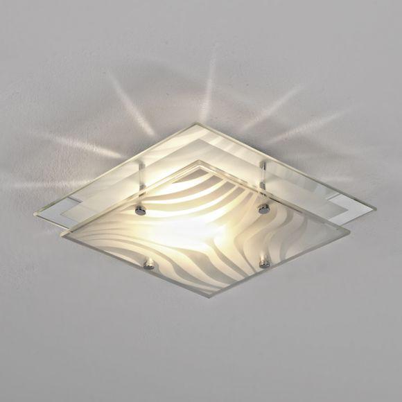 deckenleuchte mit spiegelrand in chrom 24 x 24cm wohnlicht. Black Bedroom Furniture Sets. Home Design Ideas
