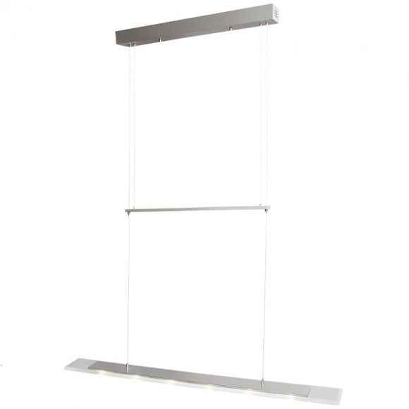 Zeitgemäße  LED-Pendelleuchte - Stahl - Glas klar satiniert - 8-flammig