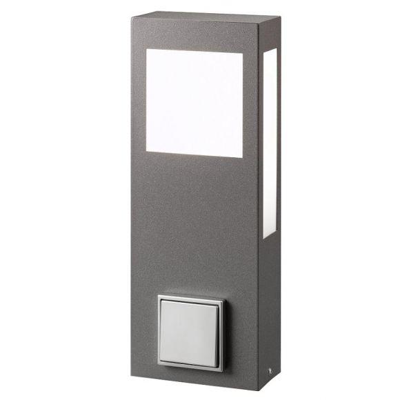 pollerleuchte mit steckdose aus stahlblech wohnlicht. Black Bedroom Furniture Sets. Home Design Ideas