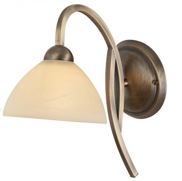 Rustikale Leuchtenserie - Wandleuchte - Glas creme - Bronzefarben