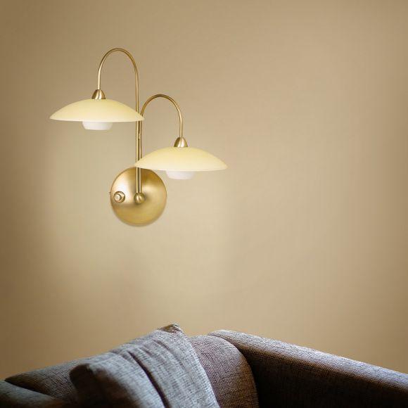 Stilvolle Leuchtenserie - Wandleuchte 2-flammig - Stahl - Glas - 2 Farben - Bronze - Stahl