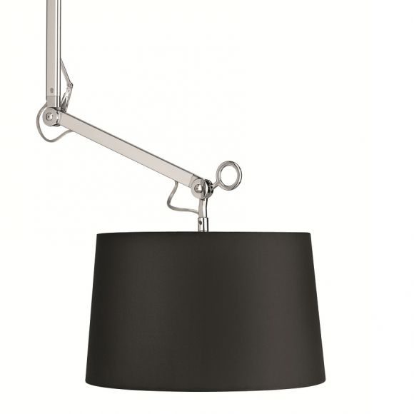 aussergew hnliche pendelleuchte schirm kunststoff schwarz chrom verstellbar ber 2 gelenke. Black Bedroom Furniture Sets. Home Design Ideas