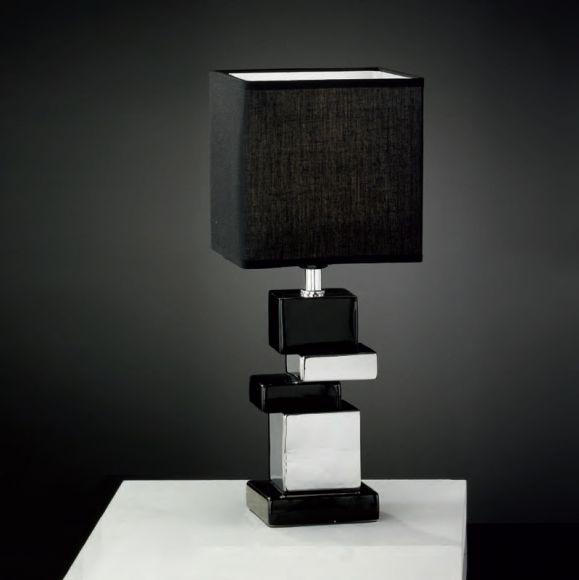tischleuchte h he 40cm schirm und keramik w hlbar in wei silber oder schwarz silber wohnlicht. Black Bedroom Furniture Sets. Home Design Ideas
