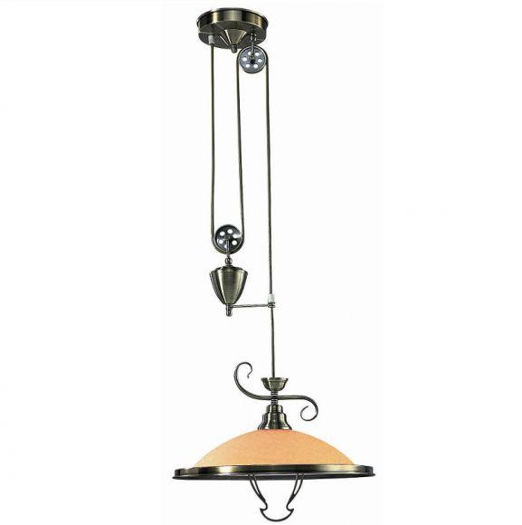 pendelleuchte mit gegengewicht h henverstellbar in altmessing glas in amber inklusive e 27. Black Bedroom Furniture Sets. Home Design Ideas