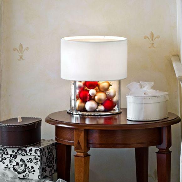 tischleuchte mit stoffschirm und bef llbarem glasfu 36cm h he wohnlicht. Black Bedroom Furniture Sets. Home Design Ideas