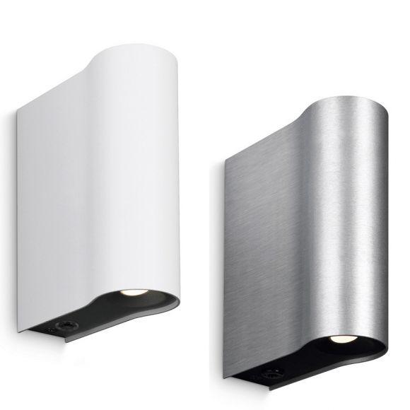 moderne wandleuchte lichtaustritt oben und unten aluminium 2 farben wohnlicht. Black Bedroom Furniture Sets. Home Design Ideas