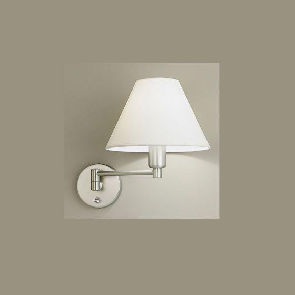 wandleuchte mit wei en stoffschirm drehdimmer wohnlicht. Black Bedroom Furniture Sets. Home Design Ideas