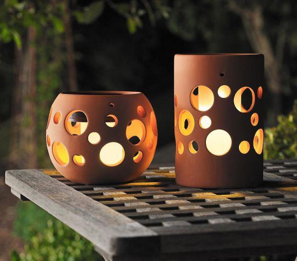LED Deko-Solarleuchte aus Keramik tonfarben, 1 gelbe LED - in 2 Varianten