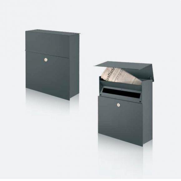 briefkasten mit integriertem zeitungsfach in grafit oder. Black Bedroom Furniture Sets. Home Design Ideas