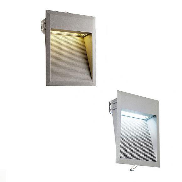 LED-Einbauleuchte mit steingrauer Aluminiumblende, SMD-LEDs in weiß oder warmweiß