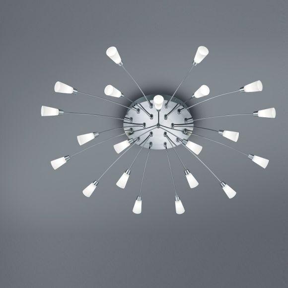 21 flg led deckenleuchte rund 100 cm in nickel matt wohnlicht. Black Bedroom Furniture Sets. Home Design Ideas