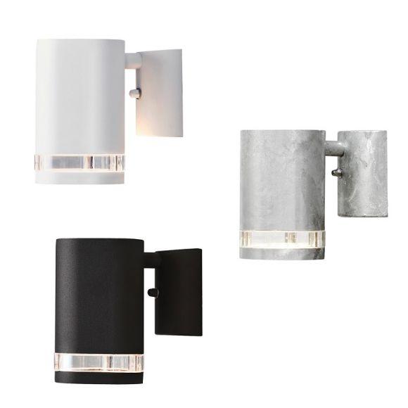Wandstrahler in weiß, stahlfarbig oder schwarz, Beleuchtung für den Außenbereich als downlight