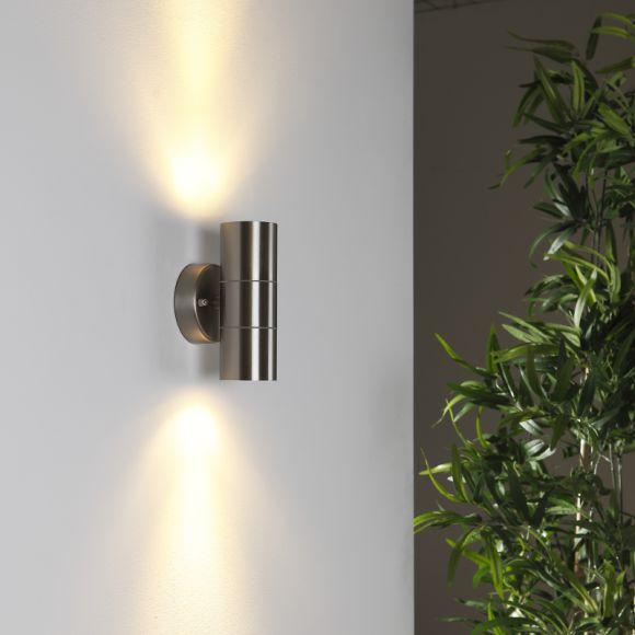 wandleuchte edelstahl mit lichteffekt 2 x power led 3x1 wohnlicht. Black Bedroom Furniture Sets. Home Design Ideas