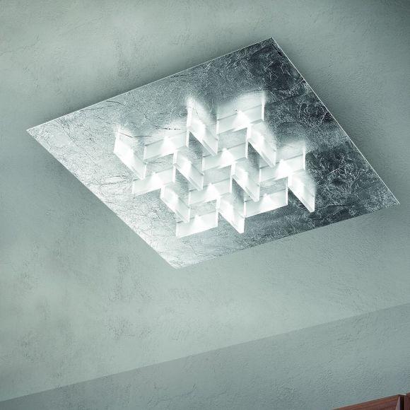 exklusive deckenleuchte handarbeit aus italien led in blattsilber wohnlicht. Black Bedroom Furniture Sets. Home Design Ideas