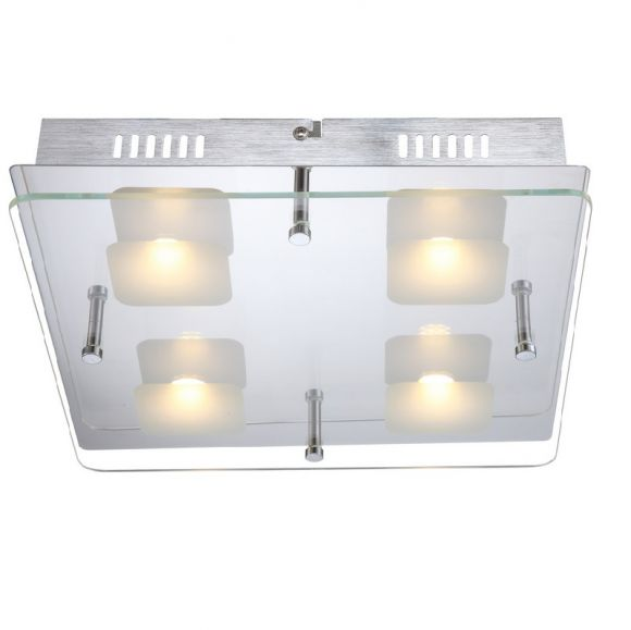led glas deckenleuchte metall chrom teilsatiniertes glas 42cm x 12cm led 4 x 5w 400lm. Black Bedroom Furniture Sets. Home Design Ideas