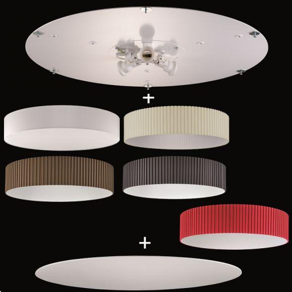 deckenleuchte aus dem baukasten 75 cm durchmesser deckenplatte stoff lampenschirm. Black Bedroom Furniture Sets. Home Design Ideas