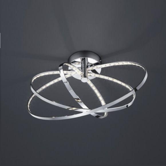 ovale led deckenleuchte drei verchromte ringe inklusive led leuchtmittel wohnlicht. Black Bedroom Furniture Sets. Home Design Ideas