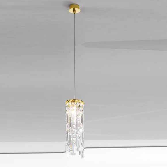 kristall pendelleuchte prisma dragon mit klaren kristallen in 24 karat gold 12cm wohnlicht. Black Bedroom Furniture Sets. Home Design Ideas