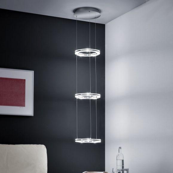 led pendelleuchte mit drei beleuchteten ringen lichtobjekt wohnlicht. Black Bedroom Furniture Sets. Home Design Ideas