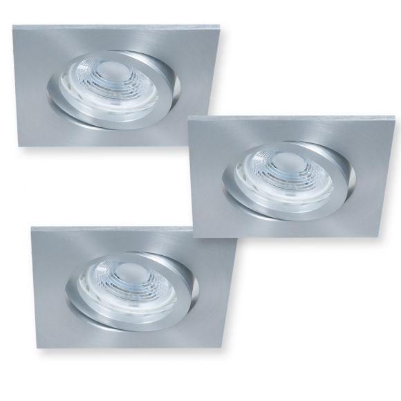 eckiger led decken einbaustrahler aluminium 3er set je 5 watt wohnlicht. Black Bedroom Furniture Sets. Home Design Ideas