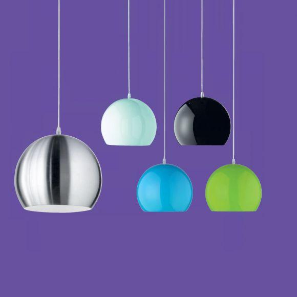 Kugelf rmige pendelleuchte aus metall im retro design for Deckenleuchten farbig