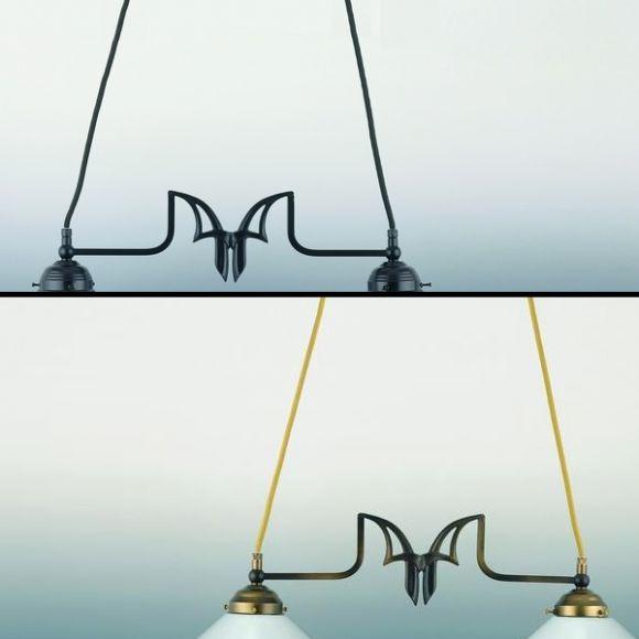 Individuelle Doppelpendelleuchte - Gläser wählbar - zwei Ausführungen in Altmessing oder Braun