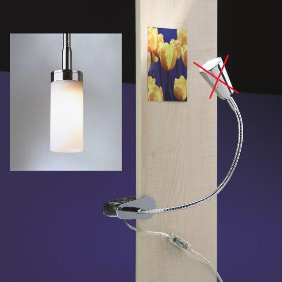 Federklemmleuchte FLEXLIGHT SPRING mit Leuchtenkopf Pisa -  2 Oberflächen - 3 Armlängen