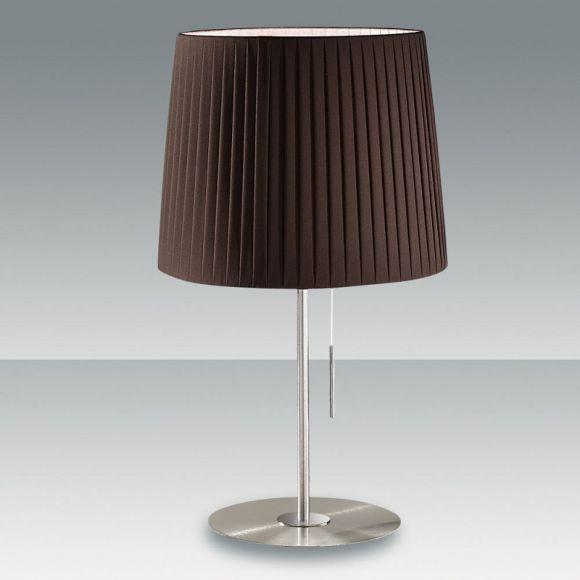 moderne tischleuchte plissee stoff lampenschirm mit zugschalter 3 farben wohnlicht. Black Bedroom Furniture Sets. Home Design Ideas