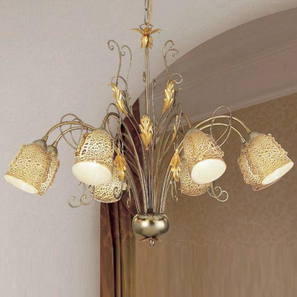 pendelleuchte im florentiner stil mit blattsilber wohnlicht. Black Bedroom Furniture Sets. Home Design Ideas