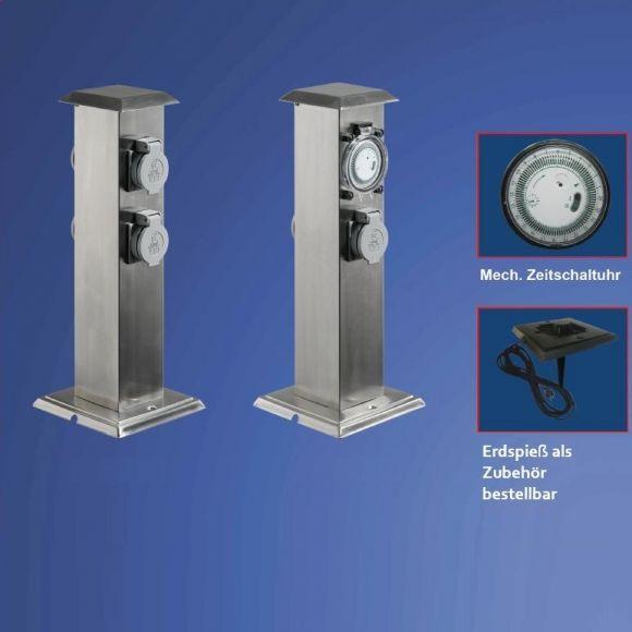 Energiesäulen mit 4 Steckdosen oder 2 Steckdosen mit Zeitschaltuhr