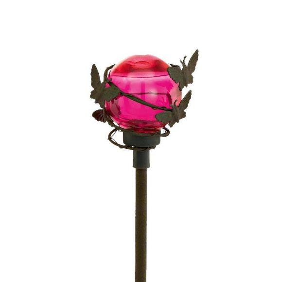 LED Solarspieß Schmetterlinge mit pinker Glaskugel und roter LED