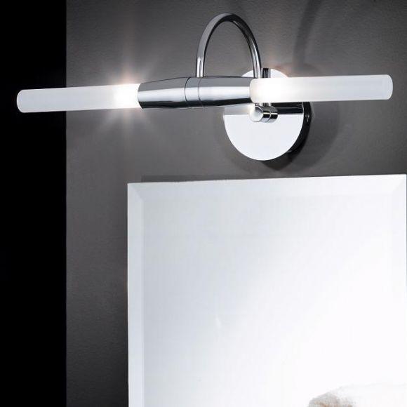 Spiegelleuchte, 2 flammig, chrom, Glas satiniert, weiß, inklusive Osram- Leuchtmittel