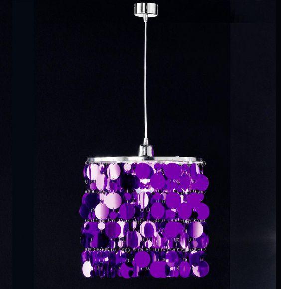 Pendelleuchte mit purple farbiger oder chrom glänzender Folie - Ø30cm