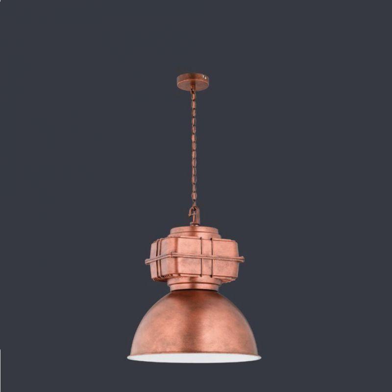 Trio Pendelleuchte im Fabrik-Stil, Leuchte in Kupfer antik 1x 60 Watt, kupferfarbig, antik 307300162