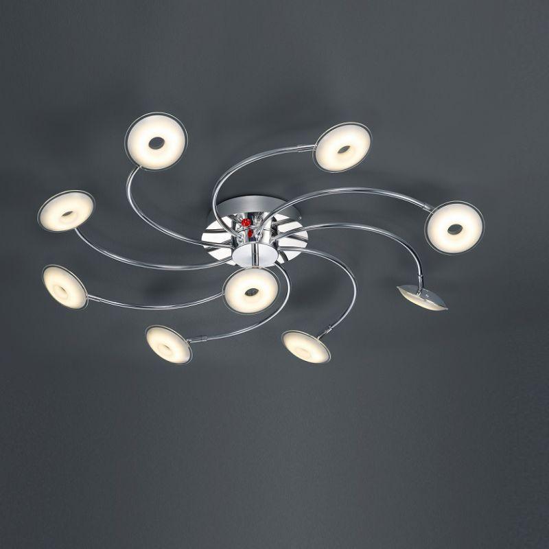 Trio LED-Deckenleuchte Pilatus mit Fernbedienung, 9-flg Pilatus 9x 3,8 Watt, 86,00 cm 675990906